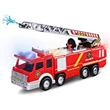Electric Fire Truck Toy, FUNTOK Engine Rescue Vehicle With Lights Sirens Extending Ladder and Water Pump Hose to Shoot Water Bump and Go Action