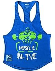قميص بدون أكمام للرجال مطبوع عليه Muscle Alive Men's Bodybuilding Stringer من القطن بحافة خلفية على شكل قوس