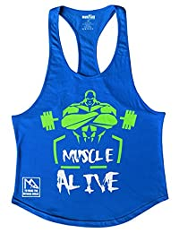 MUSCLE ALIVE Mens Bodybuilding Stringer Tank Tops Cotton Racerback Arch Hem