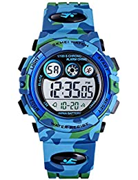 Tonnier Watch Kids Sports Watch Multi Function Digital Watches Colorful LED Display Waterproof Wristwatches for Children with PU Band Blue