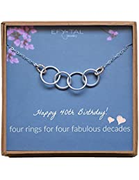 Happy 40th Birthday Gifts for Women Necklace, Sterling Silver 4 Rings Four Decades Necklaces Gift Ideas