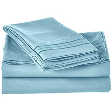 Elegant Comfort 1500 Thread Count Egyptian Quality 4-Piece Bed Sheet Sets, Queen, Deep Pockets, Aqua