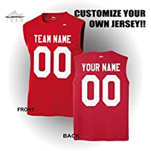 Silverfish Tees Customized Sleeveless Jersey Your Team/Name/Number Personalized Sports T-Shirt