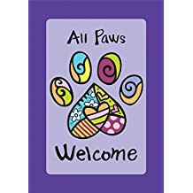 Toland Home Garden 109513 Toland-All Paws Welcome-Decorative Dog Cat Pet Heart Purple USA-Produced House Flag