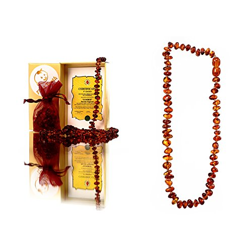 First Tooth 100% Natural Non Toxic Safe to Chew on Amber Teething Necklace (UNISEX) – Handmade in POLAND.Nature's Anti Inflammatory, Pain-relief, Redu…
