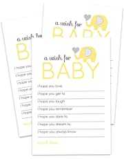 Yellow Elephant Wishes for Baby Shower Game Card