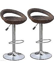 HOMCOM Set of 2 Pub Bar Stools Rattan Wicker Chair Chrome Finish Adjustable Swivel Seat, Deep Brown