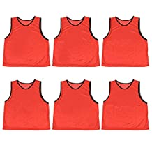 Crown Sporting Goods Scrimmage Pinnies with Mesh Storage Bag, 6 Pack, Red