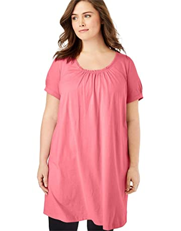 d0576dbe1d80 Woman Within Women s Plus Size Perfect Shirred U-Neck Tunic