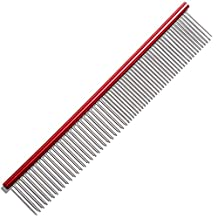 Topotdor Pet Comb Stainless Steel Grooming Tool for Dogs and Cats with Rounded Spine,9.84 Inch Length  (Red)