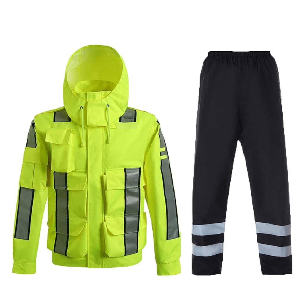 B XXXL B XXXL Reflective Clothing Waterproof Clothing Traffic Reflective Clothing Fluorescent Yellow Outdoor Reflective Raincoat Set Safety Vest (color   B, Size   XXXL)