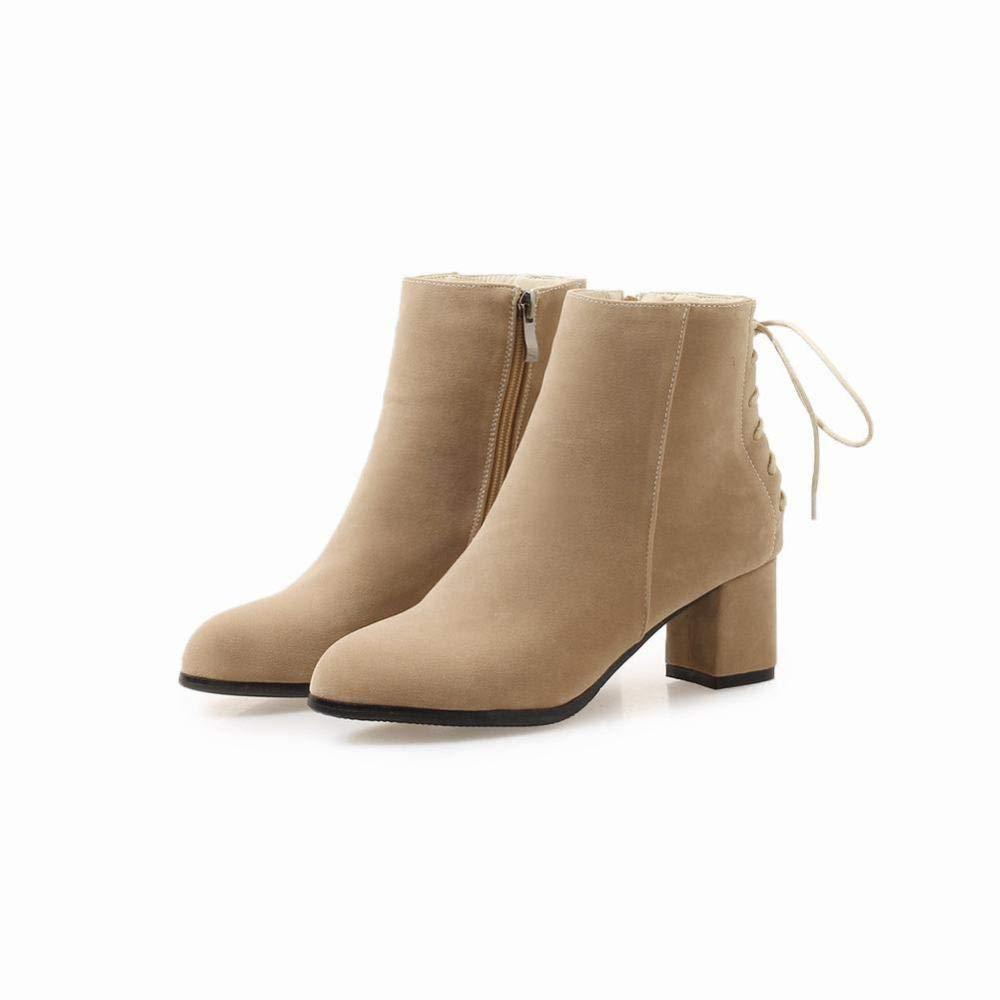 HhGold Damenstiefel - Wintermode warme Stiefel England England England wies schrubben Stiefel   34-43 (Farbe   Buff, Größe   35) c09014