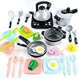JoyGrow 32 PCS Kitchen Toys for Kids, Pretend Play Kitchen Set Induction Cooker Pots Pans Utensils Play Food, Educational Cooking Toys for Toddler Boys and Girls-English Version