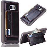 Samsung Galaxy Note 5 Wallet Case,Vandot Luxury PU Leather TPU Silicone Bumper Women Pocket Case Cover With Card Slots Stand Function Slim Fit Pattern Skin Cover [Drop Protection]-Black