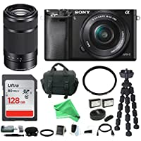 Sony Alpha a6000 Mirrorless Camera w/16-50mm & 55-210mm Lenses & 128GB + DigitalAndMore Deluxe Bundle