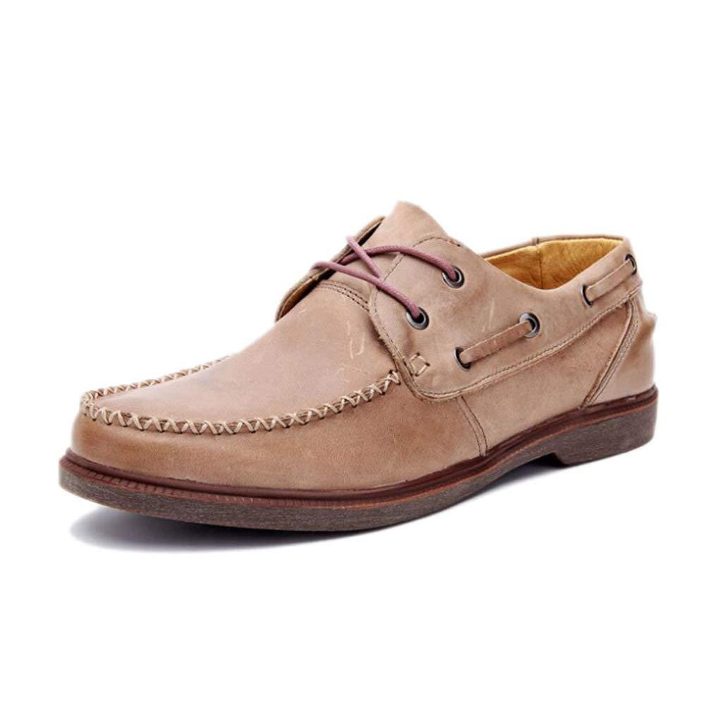 WANG-LONG Schuhe Herren Martin Stiefel Retro Persönlichkeit Outdoor Lederwaren Lederschuhe Herbst Und Winter Rutschfeste Freizeitmode,Light-braun-39