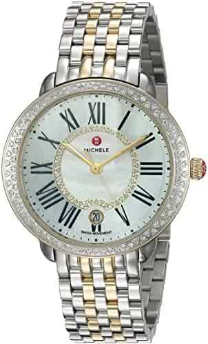 MICHELE Women's 'Serein' Swiss Quartz Stainless Steel Casual Watch, Color Silver-Toned (Model: MWW21B000032)