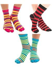 0bc8a9098 3 Pairs V-Toe Flip-Flop Big Toe Tabi Socks Fun Novelty Cotton Asian