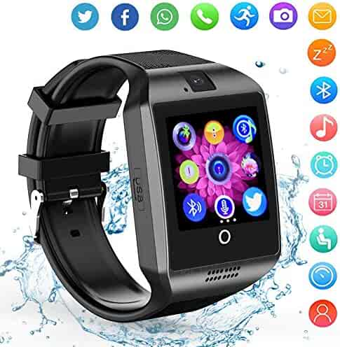 Smartwatch Sim Card Camera for Men Women Kids - Bluetooth Smart Watches Android Cell Phone Watch Card SD with Pedometer Music Player (Sliver)
