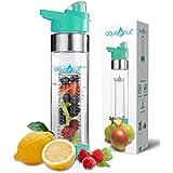 AquaFrut Bottom Loading Fruit Infuser Water Bottle 24 oz (Teal)