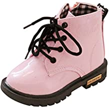 Fashion Toddler Boys Girls Martin Boot Fur Lined Winter Ankle Snow Boots (21, Pink)