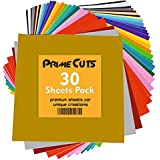 "Permanent Adhesive Backed Vinyl Sheets by PrimeCuts USA - 30 Vinyl Sheets 12"" x 12"" - 30 Assorted Color Sheets for Cricut, Silhouette Cameo, and Other Craft Cutters"