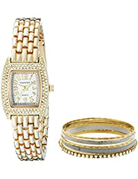 Women's VNR1000SET Crystal-Accented Gold-Tone Stainless Steel Watch Set