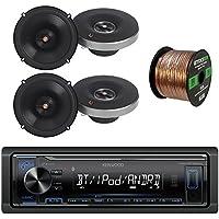 Kenwood Digital Media Bluetooth Receiver, with 4x Infinity Primus Series 6.5 2-Way Multi-Element Speakers, Enrock 16-Gauge 50 Foot Wire