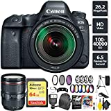 Canon EOS 6D Mark II DSLR Camera + 24-105mm f/3.5-5.6 Lens + 64GB Memory Card (1x 64) + Canon 24-105mm Lens Zoom Combo