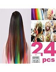 Amazon clip hair extensions extensions wigs 24 pcs color opcc bundle 22 inches multi colors party pmusecretfo Choice Image