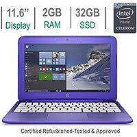 HP Stream 11.6-inch HD Premium Laptop PC, Intel Celeron N3050 1.6GHz Processor, 2GB DDR3L RAM, 32GB SSD, Bluetooth, HDMI, Webcam, WiFi, DTS Studio Sound Windows 10-Purple (Certified Refurbished)