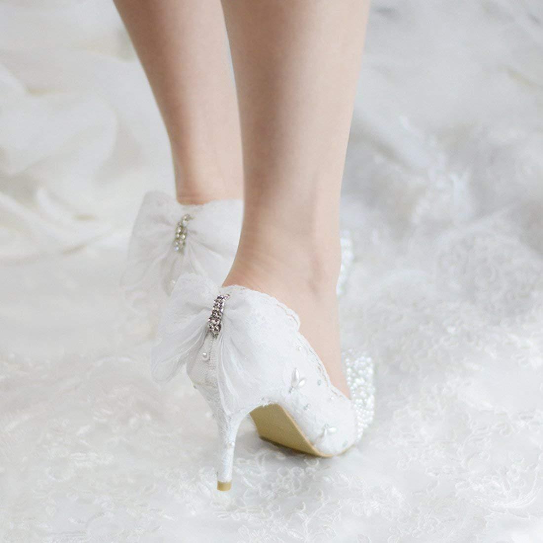 Qiusa Frauen zurück Spitze Bowknot Perlen weiß besonderen besonderen besonderen Anlass Braut Hochzeit Pumps UK 4 (Farbe   -, Größe   -) 9b32f5