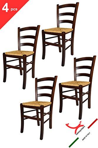 Set de 4 Sillas de cocina, comedor, bar y restaurante, con estructura en madera de haya pintado nuez y asiento en paja. Set Venezia by Tommychairs, sillas de design