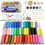 ifergoo Polymer Clay Starter Kit, 46 Colors Oven Bake Clay, DIY Modeling Clay Bockers, 5 Scuplting Tools, 5 Colors Mica Powder, 40 Jewelry Accessories for Kids and Adult (46 Colors Polymer Clay Kit)
