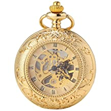 SEWOR Double Open Skeleton Pocket Watch Mechanical Movement Hand Wind Full Hunter With Leather Gift Box (Gold Magnifier)