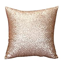 Winhurn Solid Color Glitter Sequins Throw Pillow Case Cafe Home Decor Cushion Covers (Gold)