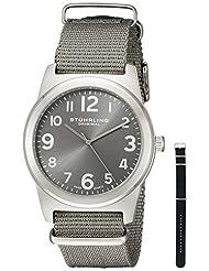 Stuhrling Original Men's 409.SET.02 Aviator Tuskegee Contrail Swiss Quartz Grey and Black Canvas Strap Watch Set