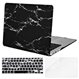 Mosiso 3 in 1 Black and Gold Marble Pattern Case & Keyboard Cover & Screen Protector for [ MacBook Air 13 inch ] (Model: A1369 and A1466 )- Ultra Slim Soft-Touch Matte Rubber Coated Hard Shell Cover