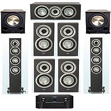 ELAC Uni-Fi Slim Black 7.2 System with 2 ELAC FS-U5, 1 ELAC CC-U5, 4 ELAC BS-U5 Speaker, 2 BIC/Acoustech Platinum Series PL-200 II Subwoofer, with Marantz SR7011 9.2 Channel AV Receiver