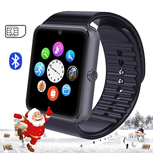 007plus GT08 Bluetooth Smart Watch with NFC Cell Phone Mate For Android Full functions Samsung S5 S6 Note 4 Note 5 HTC Sony LG and iPhone 5 5S 6 6 Plus Partial functions -Charcoal Grey