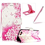 Rope Leather Case for iPhone 7,Stand Wallet Flip Case for iPhone 8,Herzzer Bookstyle Stylish 3D Pink Butterfly Pattern Magnetic PU Leather with Soft Silicone Inner Back Case for iPhone 7/iPhone 8 4.7 inch