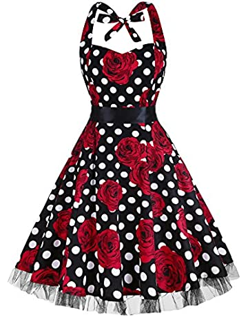 69997515ff OTEN Vintage Dresses, Women Floral Print 1950's Rockabilly Halter Swing  Dress