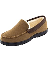 Men's Comfy Micro Wool Moccasin Slippers House Shoes Indoor/Outdoor