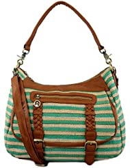 61095 NILA ANTHONY Stripe canvas handbag with leatherette trim (Green)