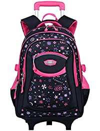 Rolling Backpack, Coofit Wheeled Backpack School Kids Rolling Backpack With Wheels (Coofit Original Design Rosy)