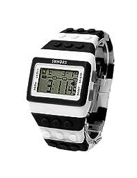 BLACK MAMUT Reloj SHHORS Digital Unisex Bloque de múltiples funciones. Carátula y un extensible de caucho Color Blanco con Negro