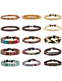 15pcs Men Women Linen Hemp Cords Wood Beads Ethnic Tribal Bracelets Leather Wristbands