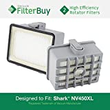 2 - Shark NV450 NV480 HEPA Filters. Designed by FilterBuy to fit Shark Rotator Professional NV450 & Rocket Professional NV480 Upright Vacuum Cleaners