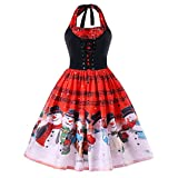 WOCACHI Final Clear Out Christmas Dresses Women Vintage Snowman Halter Sleeveless Swing Dress Music Note Bodycon Party A-Line Evening Costume Maxi Mini Knee Length (Red, Small)