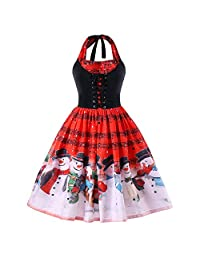 Pervobs Christmas Dress Women Xmas Music Notes Lace Empire Party Dress Swing Dress